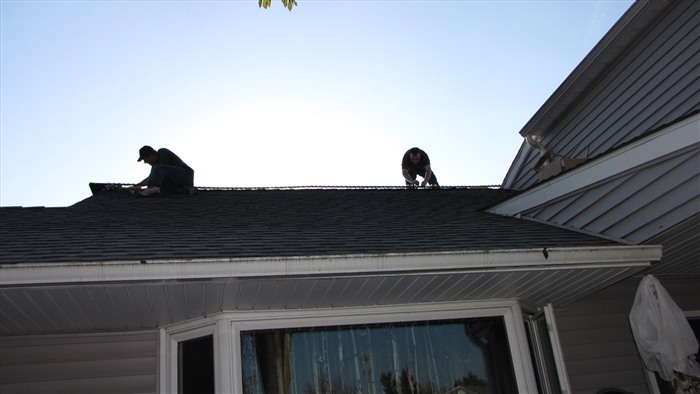That's Mike and I putting the lights on the roof line.